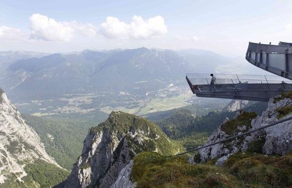 AlpspiX viewing platform at the southern Bavarian Alps mountain Alpspitze in Garmisch-Partenkirchen