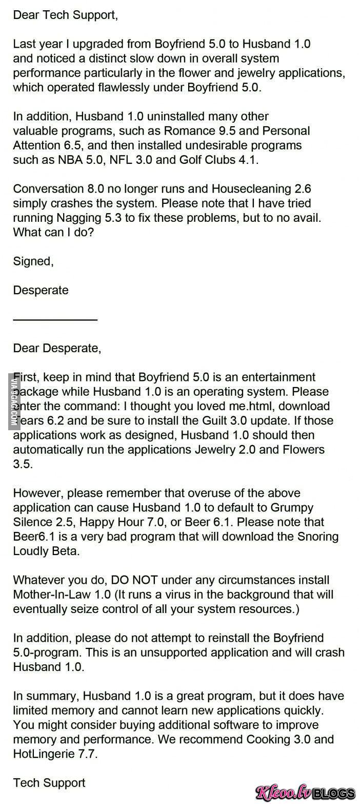 Boyfriend 5.0 to husband 1.0 upgrade issues...