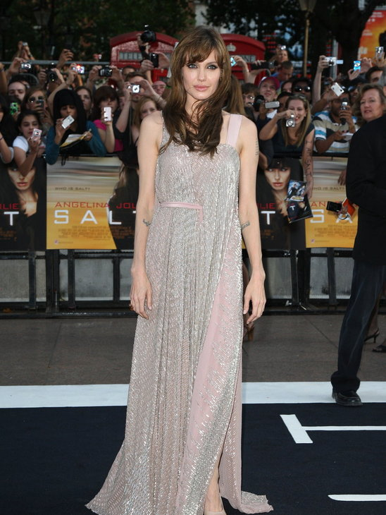 Angelina went for an Asian-inspired sparkly maxi-gown by Amanda Wakeley