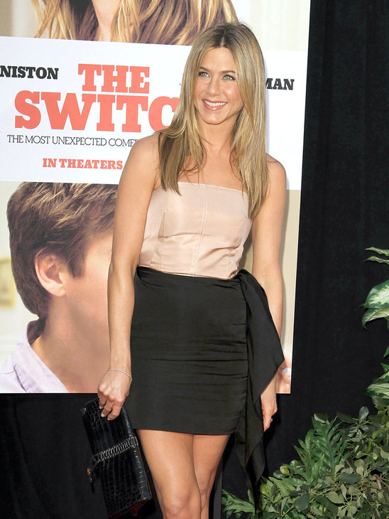 Jen was cute and taylored in a nude and black Lanvin mini-dress