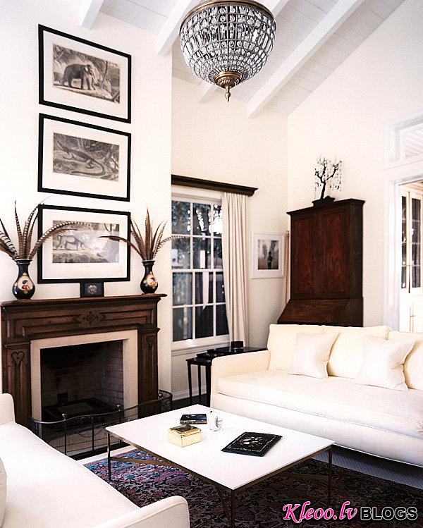 Living room with dark and light tones