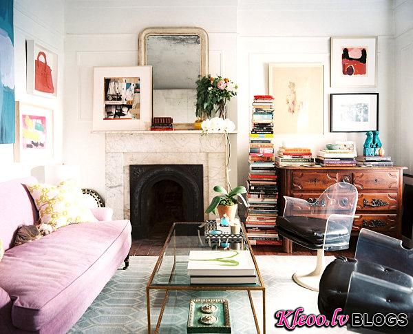 Framed artwork in a compact living room
