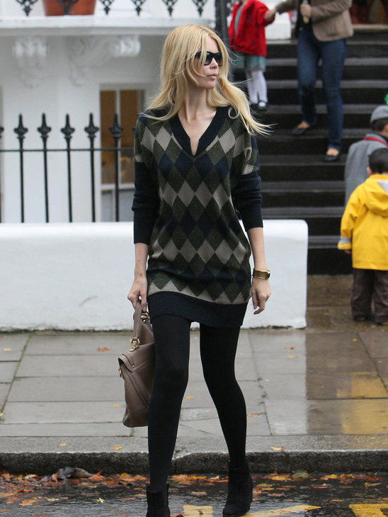 Claudia Schiffer always street chic, no matter what the weather