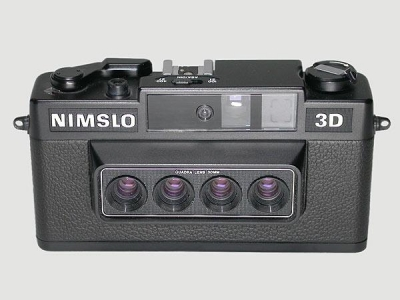 Fotoaparāts Nimslo 3D un bildes, uzņemtas ar šis ierīces palīdzību.