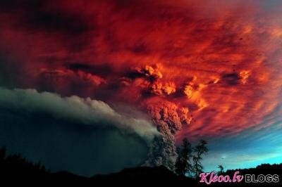 Vulkāna izvirdums Čīlē.