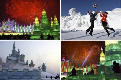 Ledus skulptūras Harbin pilsētā.