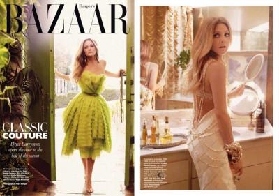 Drew Barrymore Harper's Bazaar US žurnālā