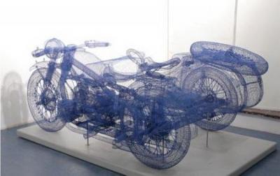 Проволочная модель мотоцикла. В реальности!
