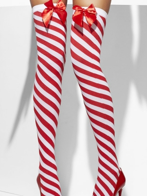 Stockings, striped with bow