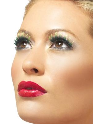 Eyelashes, Green, with Diamante
