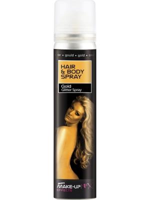 UV spīdumu matu un ķermeņa sprejs, zelta, 75 ml