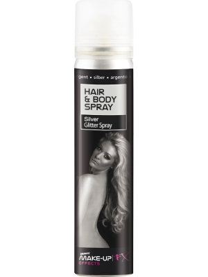 Hair and Body Spray, UV Silver Glitter, 75 ml