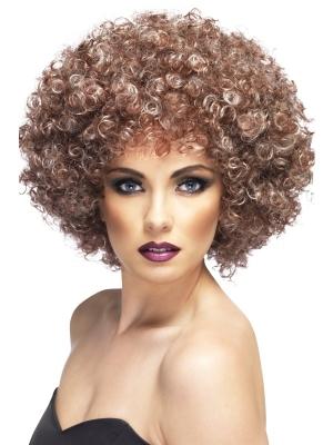 Большой афро парик, коричневый