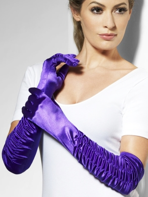 Satin gloves, purple, 46 cm