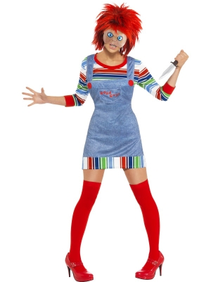 Ladies Chucky Costume with wig and mask