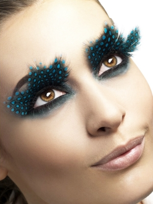 Eyelashes, Feather with Aqua Dots