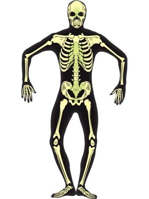 Tumsā spīdoša skeleta otrās ādas kostīms