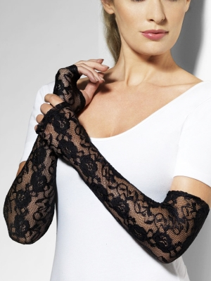 Lace gloves, fingerless, black