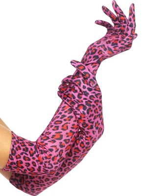 Перчатки, леопардовый принт, 52 см