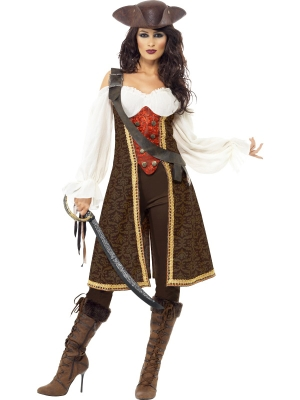 High Seas Pirate Wench Costume, with Dress, Trousers and Baldric