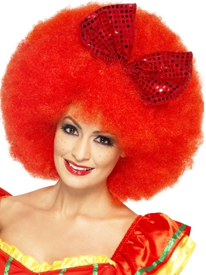 Clown Afro Wig, Red