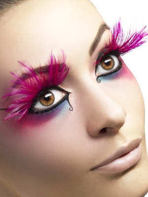 Eyelashes, Pink, with Feather Plumes
