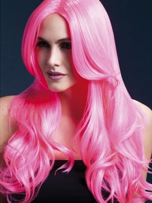 Парик Хлоя, неоно розовый, 66 см