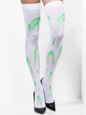 Hold ups, white, green splatter print