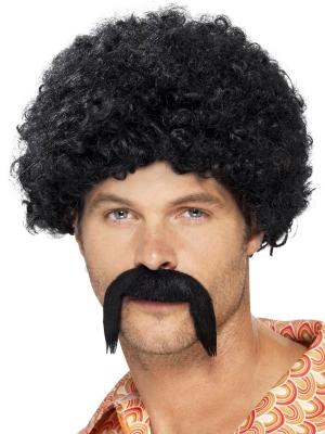 Afro parūka un ūsas, melna