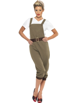 WW2 Land Girl Costume,Khaki