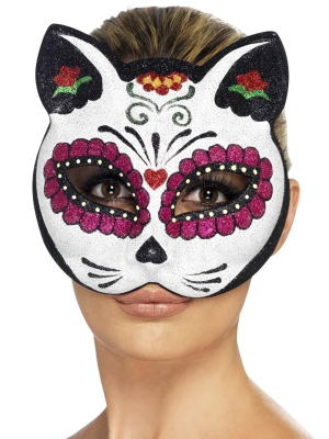 Sugar Skull Cat Eyemask, with Glitter