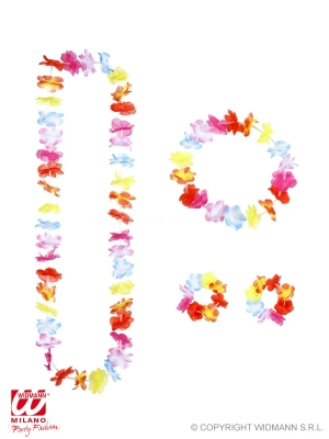 Multicolor hawaiian sets - lei, crown, 2 bracelets