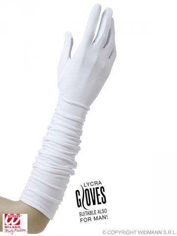 Cimdi ar krokojumu, balti, 37 cm