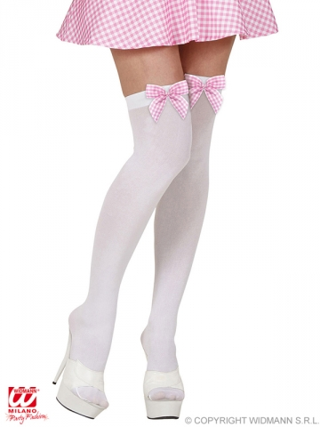 Stockings, white with bow, 70DEN