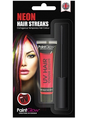 UV Hair Colour Streaks, Red, 15 ml