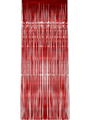 Shimmer Curtain, Red, Metallic, 91 x 244 cm