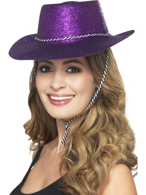 Cowboy Glitter Hat, Purple, with Chord