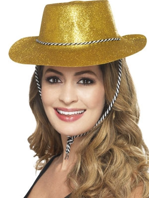 Cowboy Glitter Hat, Gold, with Chord