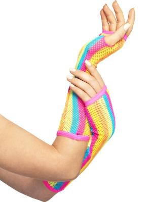 Fishnet Gloves, Long, Neon, Striped