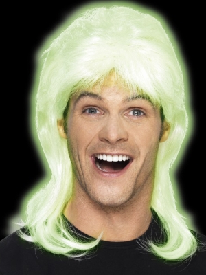 80s Party Mullet Wig, Glow in the Dark