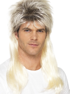 80 - s Rock Mullet Wig, Blonde, with Dark Roots