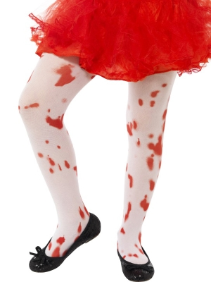 Tights, White, with Blood Stain Print, (age 6-12)