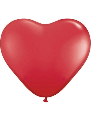 100 шт, Шар Сердце, красный, 25 см