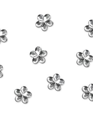50 gab, Akmentiņu ziedi, sudraba, 1 cm
