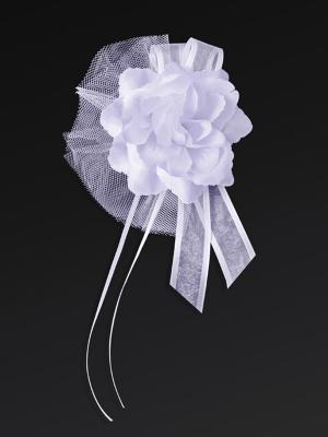 4 gab, Pušķis ar rozi, balts, 14 cm