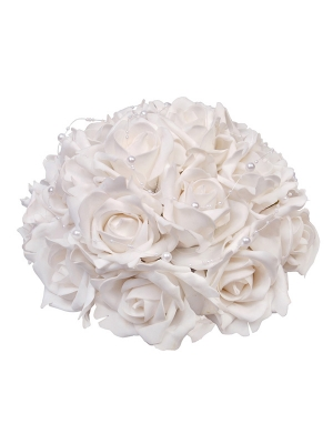 Rožu pušķis ar pērlēm, balts, 30 cm
