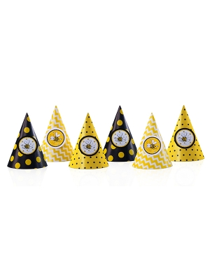 6 pcs, Party Hats Bees, 12 cm