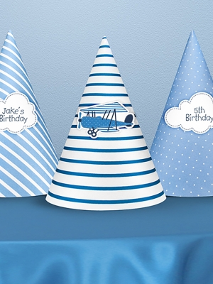 6 pcs, Little Plane Party Hats, 16 cm