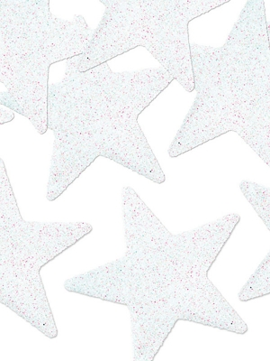 8 gab, Zvaigznes ar gliteriem, baltas, 5 cm