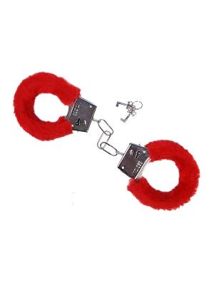 Пушистые наручники, красные